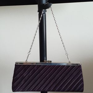 Purple Satin Clutch with Short Silver Chain